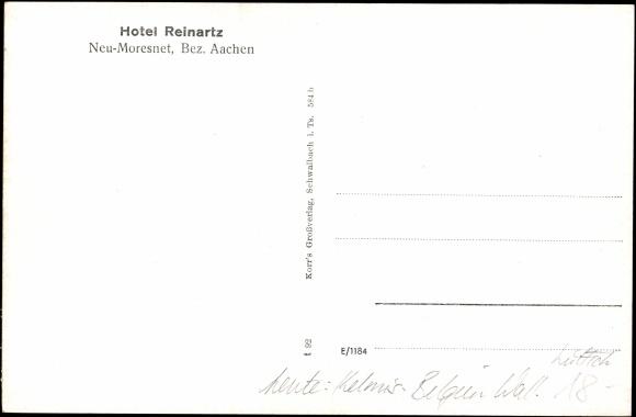 Derrière Carte postale Neu Moresnet Kelmis Wallonien Lüttich,Hotel Reinartz