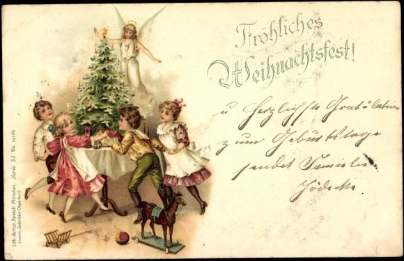 litho frohe weihnachten geschenke engel tannenbaum. Black Bedroom Furniture Sets. Home Design Ideas