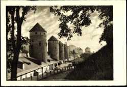 Postcard Tallinn Estland, Altertümliche Festungstürme