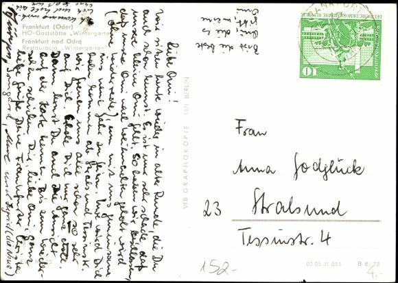 Ansichtskarte Postkarte Frankfurt Oder Partie Der Ho