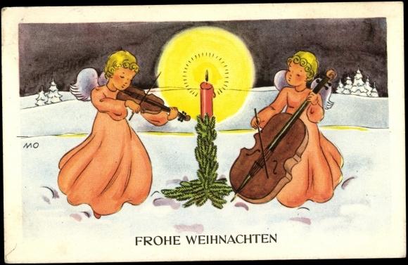 ansichtskarte postkarte frohe weihnachten zwei engel. Black Bedroom Furniture Sets. Home Design Ideas