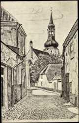 Künstler Ak Tallinn Estland, Domkirche zu St. Marien auf dem Domberg
