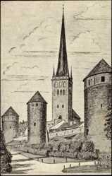Künstler Ak Tallinn Estland, Blick der Türme mit St. Olai