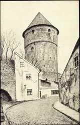 Künstler Ak Tallinn Estland, Der Bastionturm Kick in de Kök