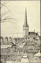 Künstler Ak Tallinn Estland, Blick zur Olaistadt mit St. Olai