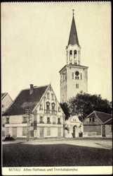 Postcard Mitau in Lettland, Partie am alten Rathaus und Trinitatiskirche