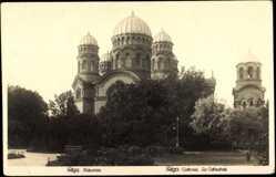 Postcard Riga Lettland, Blick auf die Kathedrale, Kuppeln, Bäume