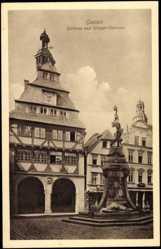 Postcard Gießen Hessen, Rathaus mit Krieger Denkmal, Fachwerkhaus