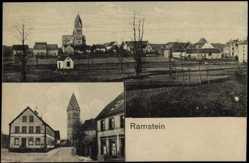 Postcard Ramstein Miesenbach Rheinland Pfalz, Ortsansicht mit Kirche