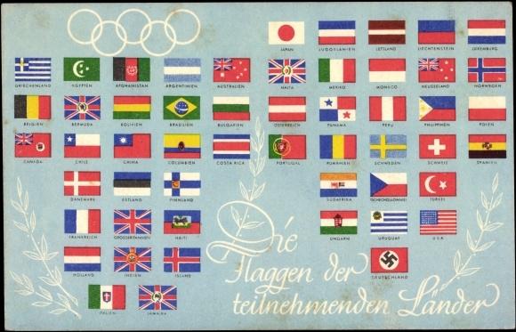 Ansichtskarte postkarte die flaggen der teilnehmenden länder