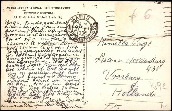 Ansichtskarte postkarte paris 5 foyer international des for Foyer international des etudiantes