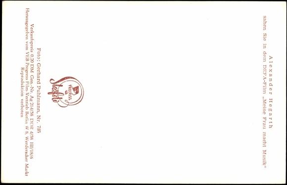 Rückseite ansichtskarte postkarte schauspieler alexander hegarth
