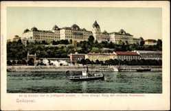 Postcard Budapest Ungarn, Blick auf die Neue königliche Burg mit rechtem Donauquai