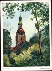 Künstler Ak Zimmermann, Bad Belzig Brandenburg, Blick auf die St. Marienkirche