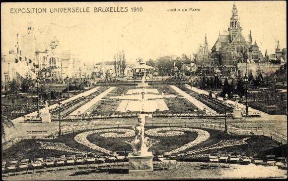 Postcard bruxelles exposition universelle 1910 jardin for Expo jardin paris