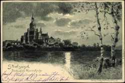 Künstler Ak H. Thiele, Stralsund, Blick auf die Marienkirche