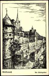 Künstler Ak Neukam, G., Kronach, Partie am Stadtgraben, Turm