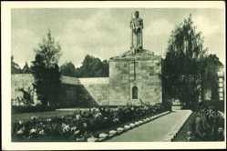 Postcard Riga Lettland, Bralu kapi, Blick auf den Brüderfriedhof, Denkmal