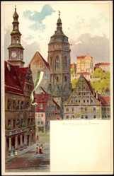 Künstler Litho Nöther, A., Pirna Sachsen, Marktplatz, Kirchturm