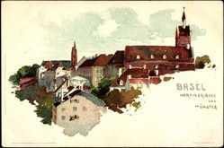 Künstler Litho Voellmy, F., Basel Schweiz, Martinskirche und Münster