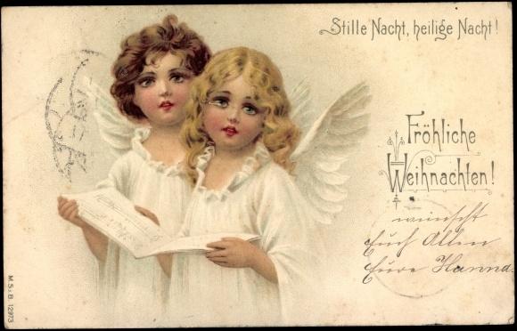 ansichtskarte postkarte frohe weihnachten engel singen. Black Bedroom Furniture Sets. Home Design Ideas