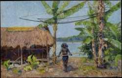 Künstler Ak Müller, Peter Paul, Papua in Neuguinea, Eingeborener, Hütte