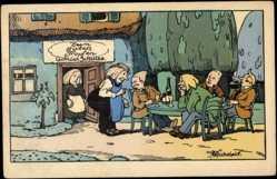 Künstler Ak Vickelait, Zum guten Tropfen, Gottlieb Schulze, Taverne