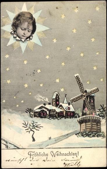 Ansichtskarte / Postkarte Glückwunsch Weihnachten, Kinderkopf im Stern, Windmühle, Häuser