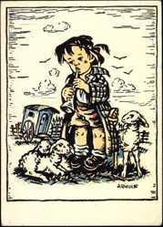 Künstler Ak Arnulf, Kleines Mädchen mit kleinen Lämmern, Flötenspiel