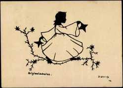 Scherenschnitt Ak Ullrich, J., Engel in weißem Kleid, Sterne