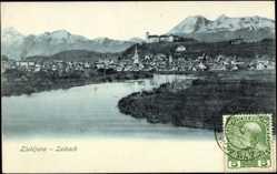 Postcard Ljubljana Slowenien, Laibach, Blick auf die Stadt am Flussufer