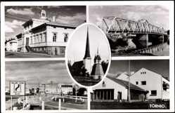 Postcard Tornio Finnland, Kanalpartie mit Brücke, Stadthaus, Straßenpartie