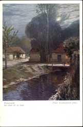 Künstler Ak Grabwinkler, Peter, Mondnacht, Au Clair de la lune, BKWI 165
