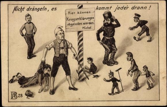 Litho Deutscher Michel, Propaganda, Hintern versohlen