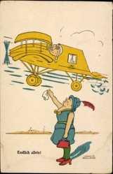 Künstler Ak Growald, Martin, Endlich allein, Flugzeug, Frau winkt