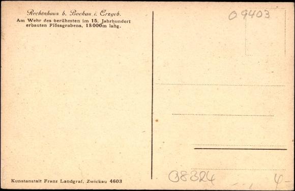 Backside Postcard Rechenhaus bei Bockau Erzgebirge, am Wehr des Flössgrabens, Waldweg