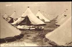 Cp Ruchard en Indre et Loire, Le Camp, Perspective a travers les Tentes