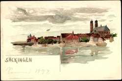 Künstler Litho Voellmy,F., Bad Säckingen, Gesamtansicht der Stadt