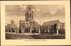 Postcard Dublin Irland, Christ Church Cathedral, Kathedrale aus Straßensicht