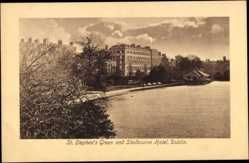 Postcard Dublin Irland, St. Stephen's Green and Shelbourne Hotel