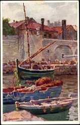 Künstler Ak Jaronek, B., Dubrovnik Kroatien, Partie am Hafen