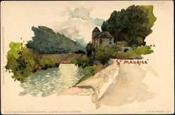 Künstler Litho Voellmy, F., St. Moritz Kanton Graubünden, Partie am Ufer, Brücke
