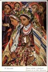 Künstler Ak Uziemblo, H., Panna mloda z druzbami, Polnische Ehefrau, Hochzeit