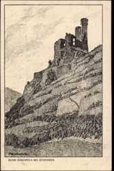 Künstler Ak Ubbelohde, Otto, Rüdesheim am Rhein, Blick zur Ruine Ehrenfels