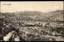 Postcard Cettigne Montenegro, Blick auf den steinigen Ort, Hügellandschaft