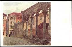 Künstler Ak Jansa, Split Kroatien, Peristli,Mann blickt auf die alte Ruine,Läden