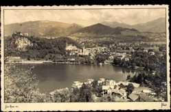 Postcard Bled Slowenien, Gesamtansicht der Stadt in den Bergen