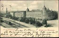 Postcard Konstanz am Bodensee, Bahnstrecke, Post und Bahnhofsgebäude