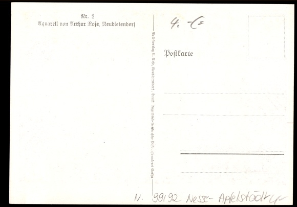 k nstler ansichtskarte postkarte rose arthur neudietendorf nesse apfelst dt h ge. Black Bedroom Furniture Sets. Home Design Ideas