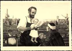 Künstler Ak Gehl, Carl, Jesuskind, Heiligenschein, Betender, Vater